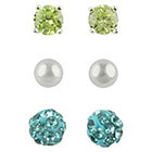 Target Cubic Zirconia Stud, Ball and Crystal Fireball Earrings Set of 3 - Blue + Green