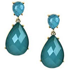 Target Drop Earrings with Stones-- Gold/Blue