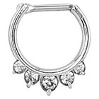 Supreme Jewelry Septum Nose Ring with Stones in Silver and Clear