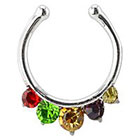 Supreme Jewelry Fake Septum Nose Ring with Stones in Multicolor