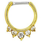 Supreme Jewelry Septum Nose Ring with Stones in Gold and Clear