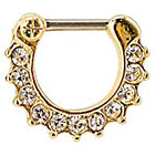 Supreme Jewelry Septum Nose Ring with Stones in Black and Clear