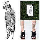 Tattify Cat in Pajamas - Temporary Tattoo (Set of 2)
