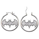 DC Comics Logo Women's DC Comics Batman Logo Stainless Steel Glitter Hoop Earrings - Silver