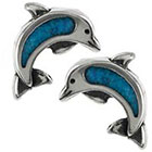 Tressa Collection Dolphin Stud Earrings with Turquoise Stone in Sterling Silver - Turquoise