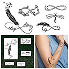 Tattify Infinity Feathers Set - Temporary Tattoo Pack (Set of 10)