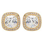 Journee Collection 3 3/5 CT. T.W. Cushion Cut CZ Basket Set Stud Earrings in Brass - Gold