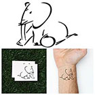 Tattify Linear Elephant - Temporary Tattoo (Set of 2)
