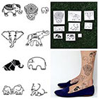 Tattify Elephants - Temporary Tattoo Pack (Set of 18)
