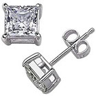Target Sterling Silver Square Princess-Cut Cz Stud Earrings