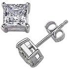 Target Sterling Silver Square Princess-Cut Cz Stud Earrings