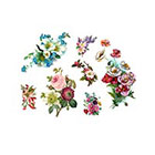Pepper Ink vintage flowers pack - 7 temporary tattoos- poppies, roses, lilac, forget me not, apple blossom, cherry blossom