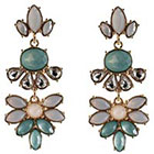 Target Statement Earrings with Stones - White/Mint