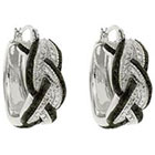 Diamond 0.02 CT.T.W Round Cut Accent Black and White Infinity Prong Set Hoop Earrings Silver Plated