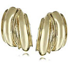 Anne Klein Gold Tone Button Clip-on Earrings in Gold