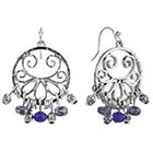 Target Rhodium Artisan and Blue Beads Drop Dangle Chandelier Earrings - Silver/Blue