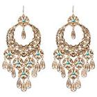 Natasha Accessories Imitation Gold Drop Earring Stone - Turquoise (4