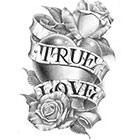 Tattoo You True Love Temporary Tattoo, Black and White Flower Heart Tattoo by BJ Betts