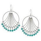 Target Silver Plated Open Round with Dangle Turquoise Beads Drop Earrings - Silver/Turquoise