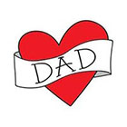 happytatts dad temporary tattoo, funny valentine photography prop for babies kids children vintage inspired fake tattoo, retro heart banner, happytatts