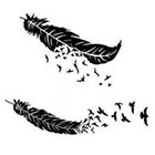 InknArt 2pcs Bird & Feather silhouette tattoo - InknArt Temporary Tattoo - wrist tattoo body sticker fake tattoo quote