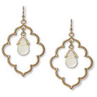 Target Quatrefoil Earring with Stone Drop - White/Gold