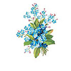 Stay At Home Gypsy Vintage floral temporary tattoo - blue flowers