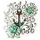 Tattoo You Small Typographic Anchor Temporary Tattoo, Typographic Tattoo Style, by Tara Ludgate