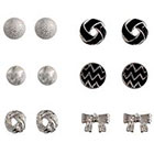 Target Stud Earrings with Stones - Black/Silver