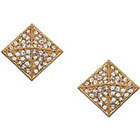 Blu Bijoux Gold Crystal Pyramid Stud Earrings