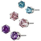 Target Lt. Amethyst Poly/Round Stud Earring Trio - Silver