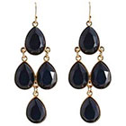 Target Drop Earrings with Stones - Gold/Blue