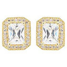 Journee Collection 3 1/10 CT. T.W. Emerald Cut CZ Basket Set Stud Earrings in Brass - Gold