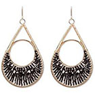 Natasha Accessories Imitation Gold Beaded Earring Bugle Beads - Black (3