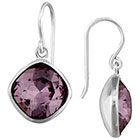 Target Pink Silver Plated Antique Pink Crystal Cushion Corner Dangle Earrings - Silver (10mm)