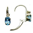 Diamond 10K Yellow Gold Swiss Blue Topaz and Accent Leverback Earrings