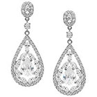 Journee Collection 4 7/8 CT. T.W. Pear Cut CZ Basket Set Dangle Earrings in Brass - Silver