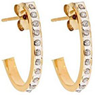 Diamond J Post Hoop Sterling Silver Earrings with Accents - Yellow