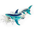Tattoo You Small Shark Temporary Tattoo, Classic Asian Tattoo Style, by Dean Sacred