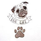 TheCatkinBoutique Pug life temporary tattoo