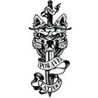 NovuInk Wolf Dagger Waterproof Temporary Tattoo Transfer (Original Hand Painted Art Design)