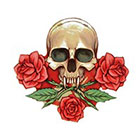 NovuInk Skull n Roses Waterproof Temporary Tattoo Transfer (Original Hand Painted Art Design)