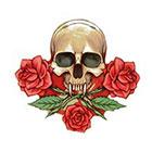 NovuInk Skull n Roses Waterproof Temporary Tattoo Transfer (Original Hand Painted Art Design)