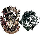 NovuInk Shimmer Skull + Top Hat Girl Waterproof Temporary Tattoo Transfer (Original Hand Painted Art Design)