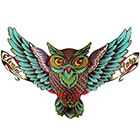 NovuInk War Owl Waterproof Temporary Tattoo Transfer (Original Hand Painted Art Design)