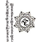 NovuInk The Script + Buddhist Aum Symbol Waterproof Temporary Tattoo Transfer (Original Hand Painted Art Design)