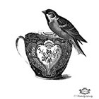 Wickedly Lovely Bird and tea cup Wickedly Lovely Skin Art TemporaryTattoo