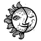 JoellesEmporium Sun Moon Temporary Tattoo, Temporary Tattoo Art, Minimalist Art, Body Art, Modern Art, Black, Sun Temporary Tattoo, Moon Temporary Tattoo