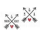 InknArt Set of 2 Custom initial name arrow heart wedding temporary tattoo personalized gift - InknArt Temporary Tattoo - wedding favor tattoo