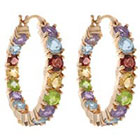 Target 18K Gold Overlay Multi Gemstone Inside-Out Hoop Earrings